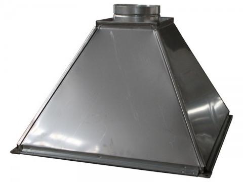 Зонт вытяжной прямоугольный с круглой врезкой оцинкованная сталь